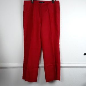 ASHLEY STEWART LINEN BLEND WIDE LEG RED SLACKS